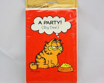 "Vintage Garfield Party Invitations by Gibson Greeting Cards - ""A Party! (Big Deal)"" - Set of 8"