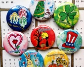 American Holidays Calendar Magnets, Holidays Art, Holiday Gifts, Fridge Magnet Set, Thanksgiving, Halloween, Christmas, Happy Holidays
