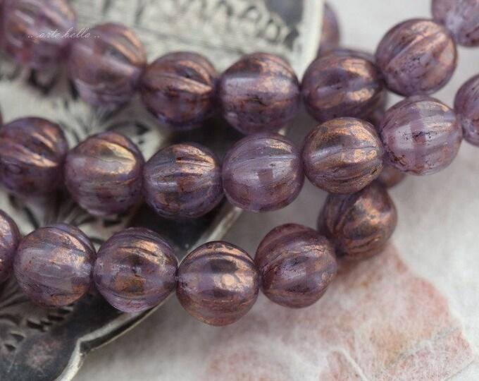 PLUM MELONS .. 25 Picasso Glass Czech Melon Beads 6mm (5691-st)