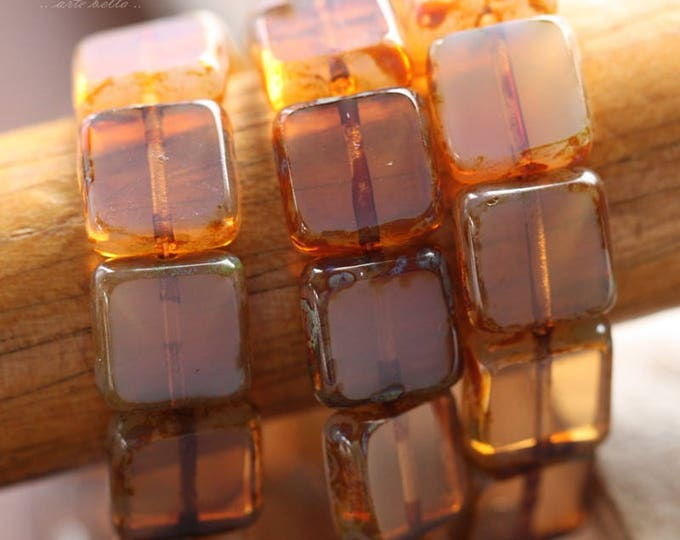 sale .. BALLET SLIPPERS .. 15 Premium Picasso Czech Glass Square Beads 11mm (B1007-15)