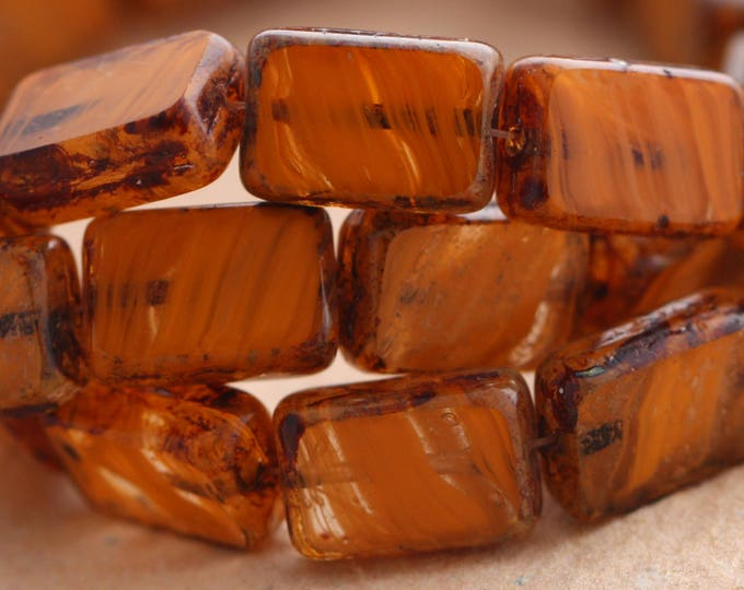 sale .. STRIPED ORANGES .. 15 Picasso Czech Glass Rectangle Beads 12x8mm (B1023-st)