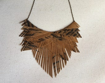 Animal print suede leather fringe necklace