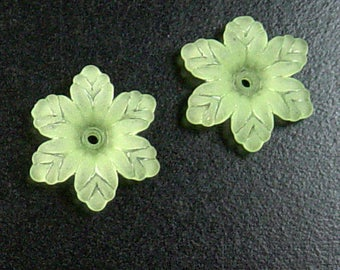 CLEARANCE Acrylic Bead 10 Star Daisy Flower Green 6-Petal Frosted 19mm (1031luc19m1-6)os