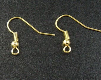 Gold Earring Findings 50 Earring Hook Ball and Spring Gold Color (25 pairs) 18mm long NF (1037ear18d1)