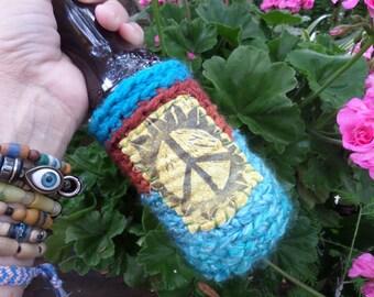 Hippie Festival, D68, beer cooler, can cooler, bottle cooler, Beer cozy, Cheers,Hippie peace, hippie crochet, boho beer, crochet beer