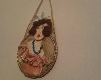Little Beaded Flapper Wall Hanging Embroidery