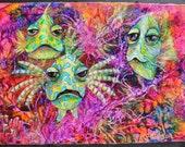 Salt Life Key West Funky Fish tropical ocean reef sea Original Painting KeROBinson