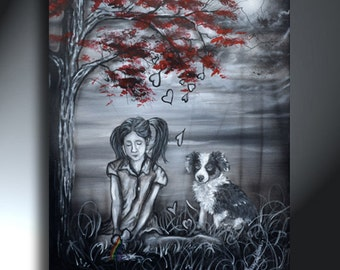 Girl With Dog Painting Black Gray Red Original Artwork 16x20 Little Girl With Broken Heart