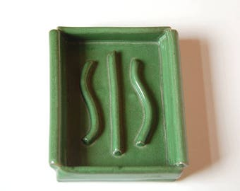 Soap Dish Rectangular with Raised Pattern in Bright Green