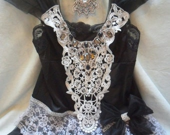 Holiday Sale 30% Off TUNIC Top Holidays Cami Romantic Rhinestones Lace - Vintage Cami Make Over - Black and Gray