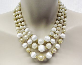 50s 60s Vintage Multi Strand Beaded Necklace Cream White and Beige Japan