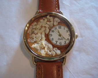 Women Wrist Watch, Jewelry Watch with Flowers on a Brown Face and Brown Leather Band, Creamy White Alyssum on Brown Watch, Watch for Women