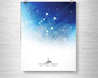 Libra Poster, Zodiac Libra Print, Zodiac Stars, Libra Constellation