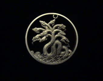 HYDRA PREMIER!! cut coin pendant - .999 SILVER - Hercules Series
