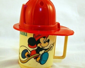 Vintage disneyland Mickey and Goofy Fireman Cup