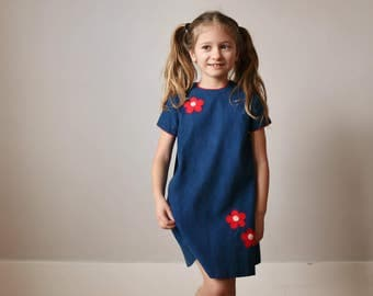 1960s Corduroy Flower Dress >>> Size 5t/6
