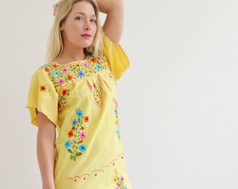 1980s Sunny Mexican Oaxacan Dress /// Size Extra Small