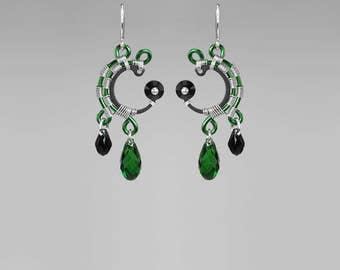 Green Swarovski Crystal Earrings, Industrial Earrings, Statement Earrings, Bridal Jewelry, Wire Wrapped Jewelry, Enceladus II v5