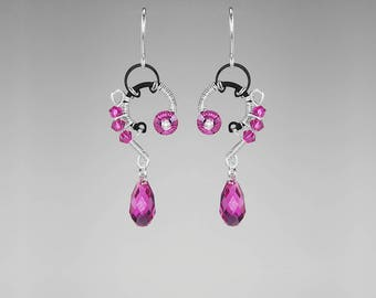 Pink Swarovski Crystal Earrings, Industrial Jewelry, Fuchsia Swarovski Crystal, Crystal Earrings, Bridal Jewelry, Triangulum Galaxy II v5