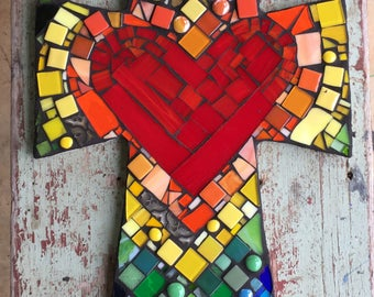 Large Mosaic Cross with Heart and Layers