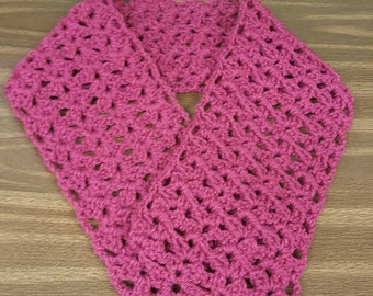 Handmade Crocheted Burgundy Scarf/Neck Warmer/Wrap