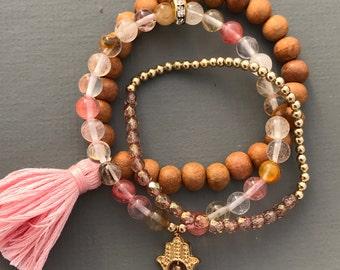 cherry quartz mala stack bracelets with hamsa charm and tassel, set of bracelets, pink bracelet, hamsa bracelet, yoga bracelet, wood jewelry