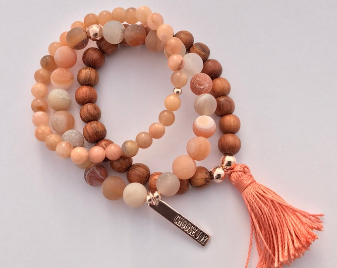 choose joy- pink adventurine druzy agate wood stack mala bracelets with charm and tassel, bracelet set, peach bracelet, tassel bracelet,