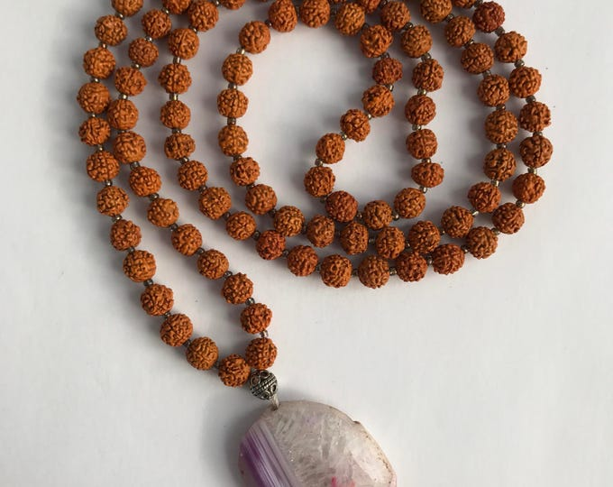 rudraksha beaded mala with agate focal stone , traditional mala, mala beads, long necklace, beaded necklace, 108 bead mala, yoga necklace