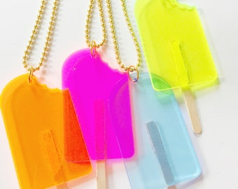 Popsicle Necklace. Kids Necklace. Kids Jewelry. Girls Necklace. Ice Cream Necklace. Cool Gift for Kids. Pop Necklace. Gift for Girl. Food