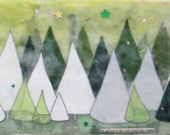 Encaustic painting, landscape painting, tree painting, aurora borealis art, pine tree illustration