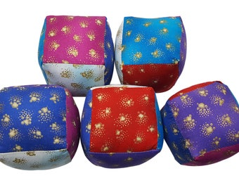 Soft Baby Blocks in Paw Prints from Laurel Burch in Bright Colors