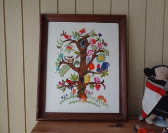 Vintage Wool Embroidered Woodland Scene. Folk Art. Animals. Charming. 1970s