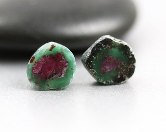 Ruby in Zoisite - Slice Pair - Ruby Beads - 9mm