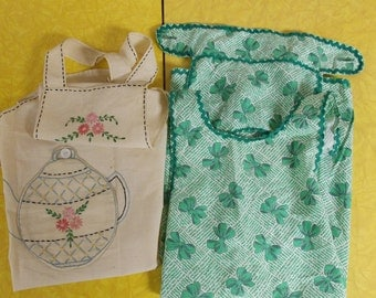 2 small vintage aprons, bib apron embroidered teapot, green bows button back