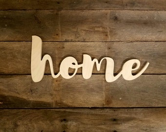 Wood home sign, Wooden Letters,  unpainted wooden wall hanging
