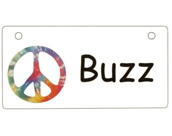 Tie Dye Peace Sign Crate Tag Personalized with Your Dog's Name - Free Shipping