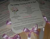 Wedding Fans with Program, Wedding Fan, Vintage, single sided - set of 100