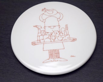 Bing and Grondahl Wall Plaque, Viking Chef Design by Antoni, 3763, Red and White, Made in Denmark, B & G