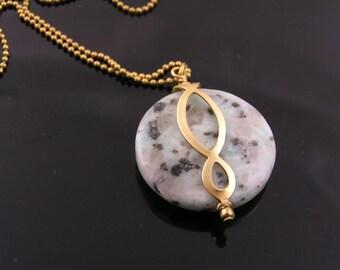 Eternity Necklace, Sesame Jasper Necklace, Very Large Gem Necklace, Jasper Jewelry, Infinity Jewelry, Eternity Jewelry