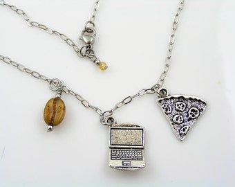 Nerd Necklace with Computer, Coffee Bean and Pizza Slice Charms, Programmer Gift, Nerd Gifts, Coffee Bean Necklace, Coffee Bean Jewelry