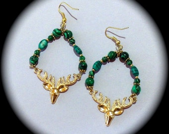 Unique Gold and Malachite Long Dangle Hoop Style Earrings Everyday Wear Fashion Boho Native Hippie Tribal Ethnic African Cottage Chic gemsto