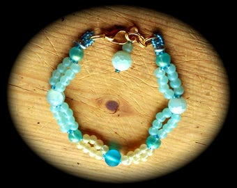 Summer Fun with Shades of Aqua and Greens Fashion Bracelet  hippie boho ethnic cottage chic african gypsy beach