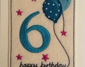 Age 6 - 6th Birthday Card