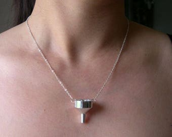 Working Metal Funnel Necklace - Mini Kitchen Utensil Jewelry