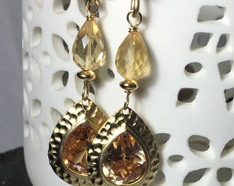 Citrine Gemstone Glass Gold Dangle Earrings, Gifts for Her