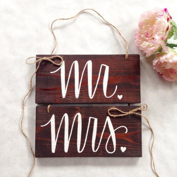 Mr. and Mrs. Wedding Chair signs Bride and Groom Signs