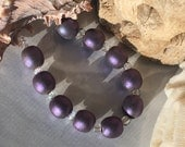 Purple Shimmering Sea Pearl Rounds Handmade Lampwork Glass Beads SRA