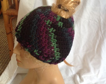 Violet Twilight Messy Bun Beanie, Top Knot Beanie, Messy Bun Hat, Top Knot Hat, Unisex Beanie, Crochet Beanie, Winter Beanie