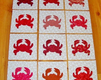 "Set of 12  Mixed Red Crab  6"" x 6""  Cotton Quilt Blocks"