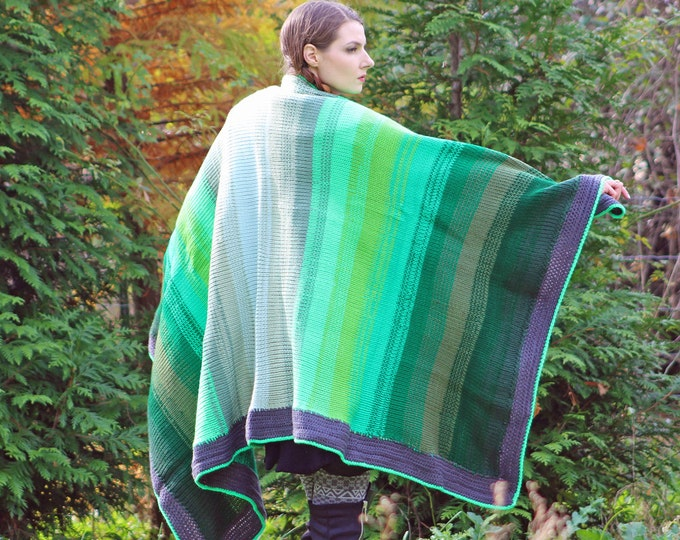Hygge Blanket Green Ombre Gradient Knit and Crochet One of a Kind Handmade Gift